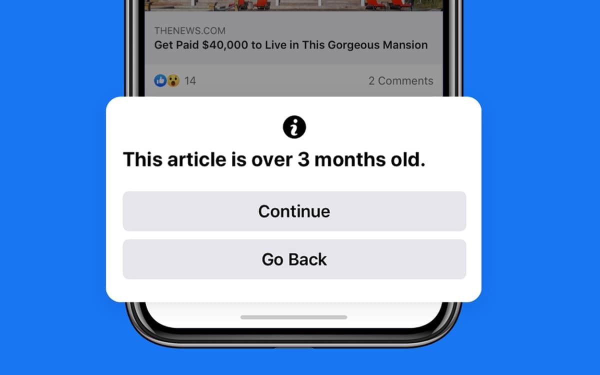 facebook avertit articles vieux