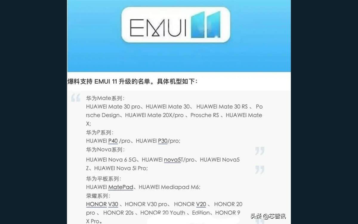 EMUI 11 liste smartphones Huawei Honor compatibles