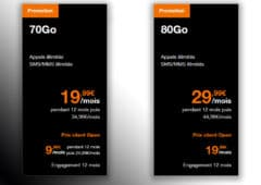 Forfaits Orange 70 Go et 80 80 Go