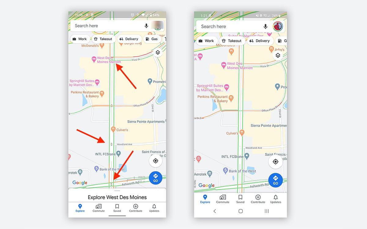 Google Maps feux de circulation