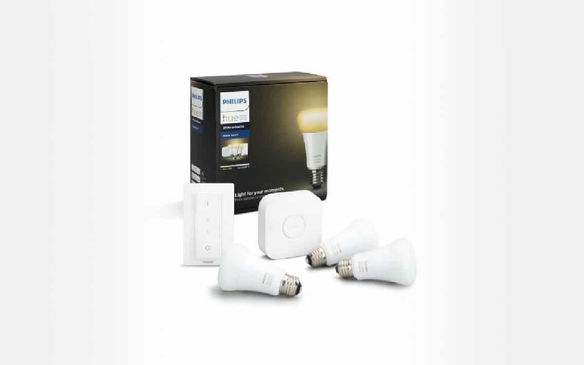 Kit de démarrage Philips Hue E27 3 ampoules, 1 pont et 1 variateur
