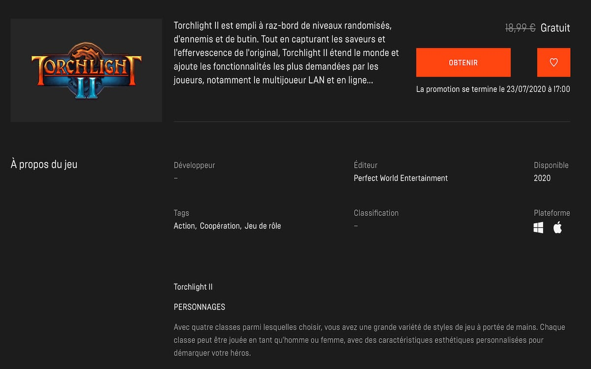 Torchlight II Epic Games Store