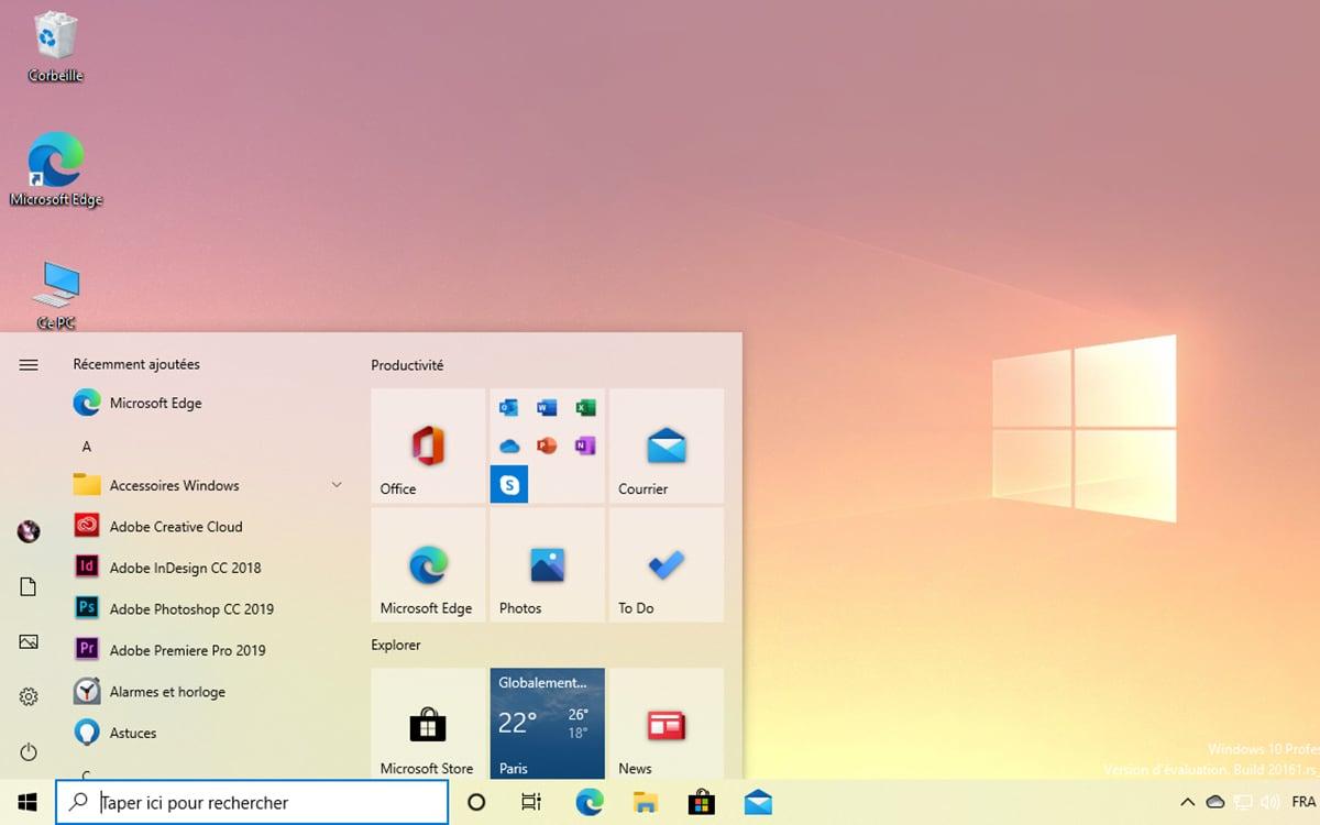 Windows 10 nouveau menu Démarrer