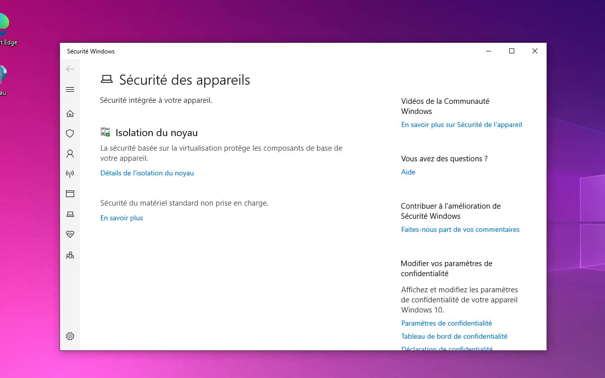 Windows 10 nouvelle version mise a jour Windows Defender securite noyau
