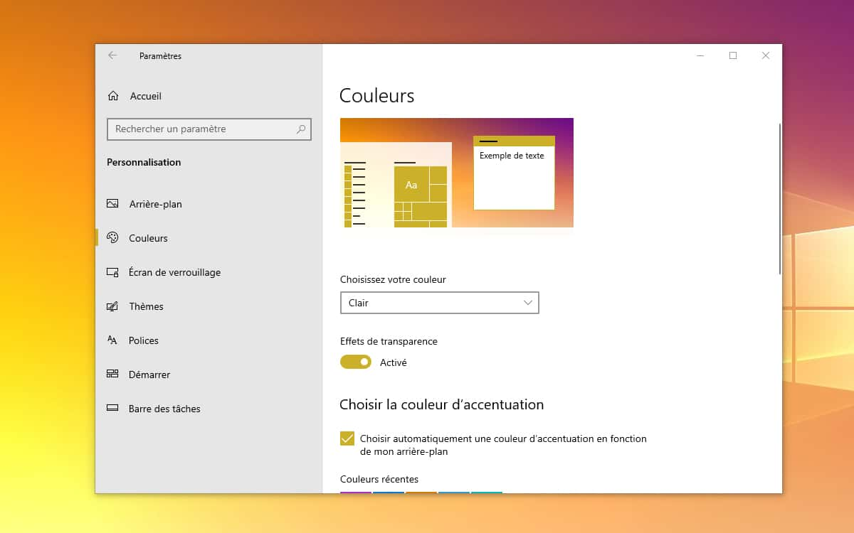 Windows 10 selectionner mode couleurs