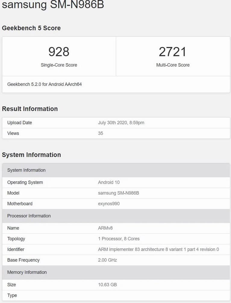 Note 20 Benchmark