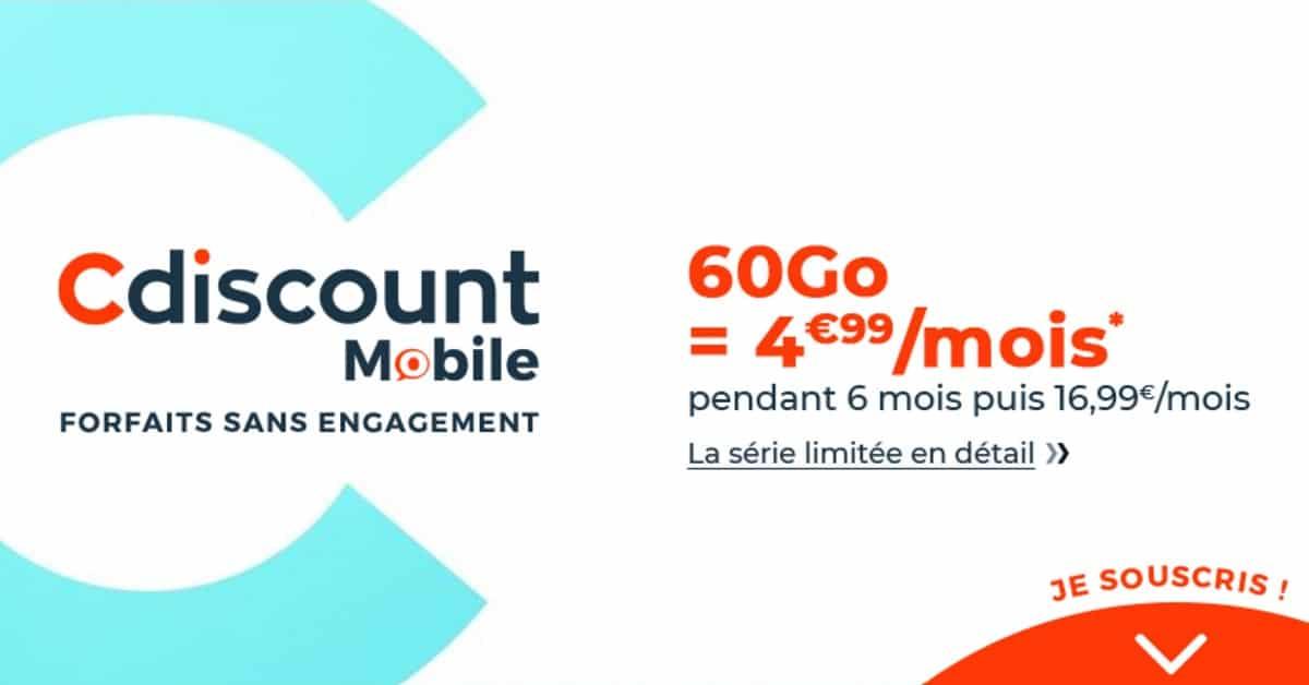 forfait cdiscount mobile 60 Go