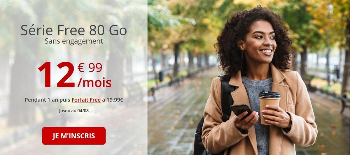 Forfait mobile Free 80go à 12.99€