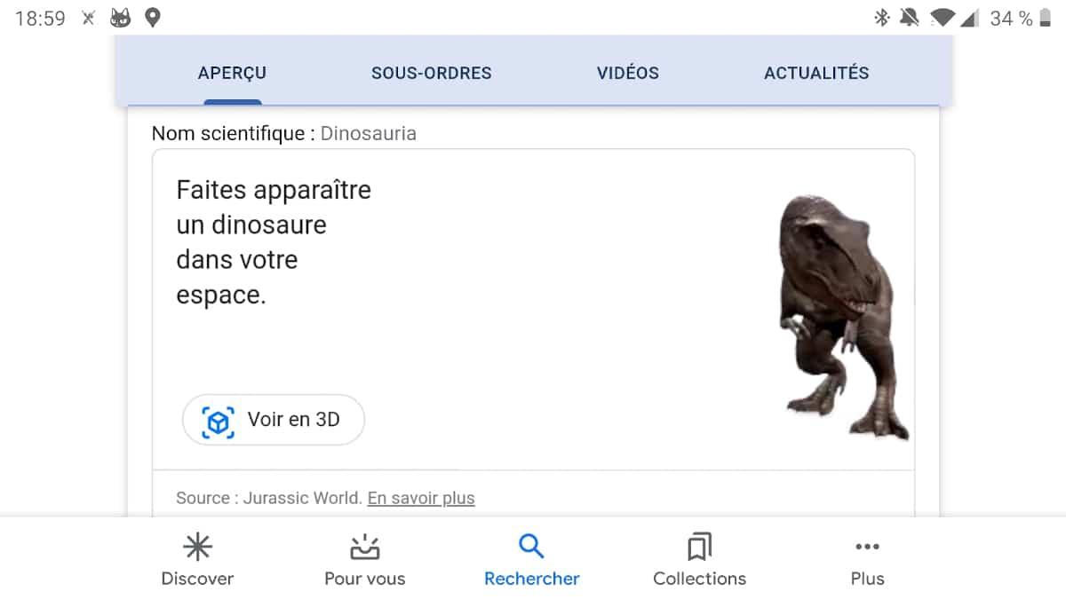 google dinosaure realite virtuelle 2