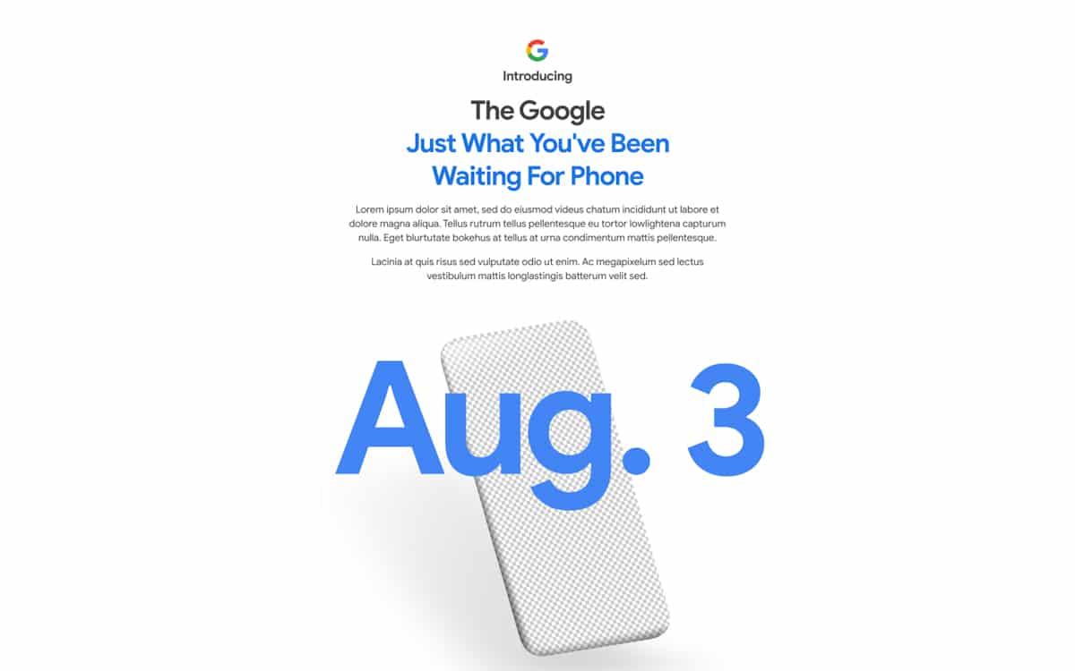 google pixel 4a présentation 3 août