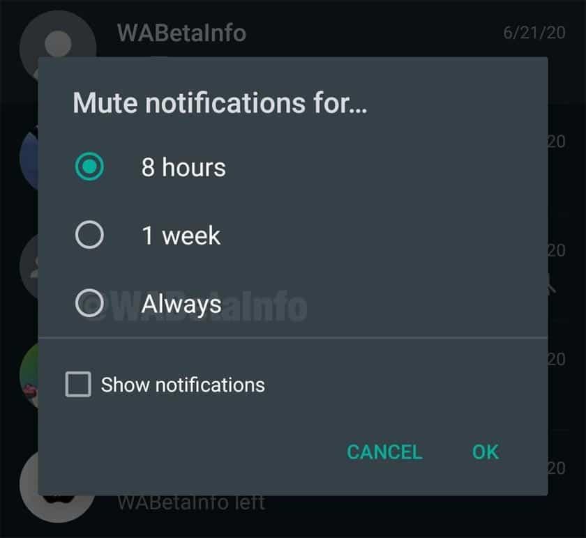 WhatsApp permettra de muter les notifications à jamais