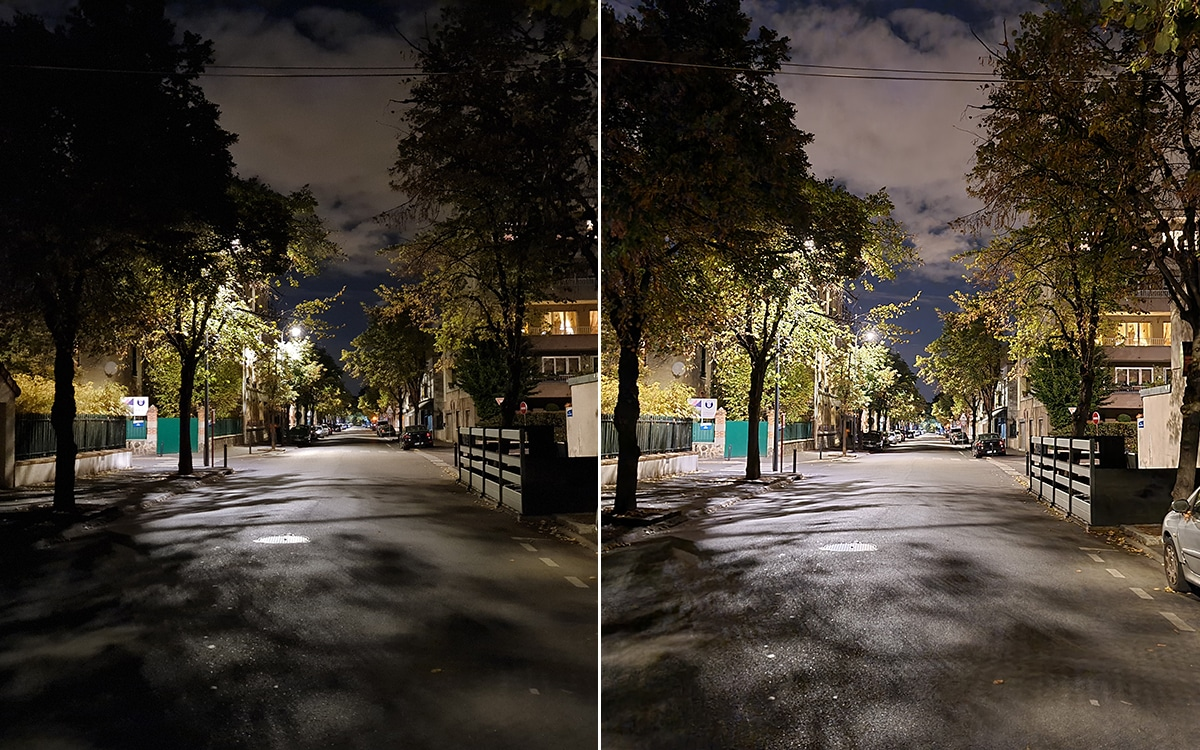 Galaxy Note 20 Ultra 5G photo without and with night mode