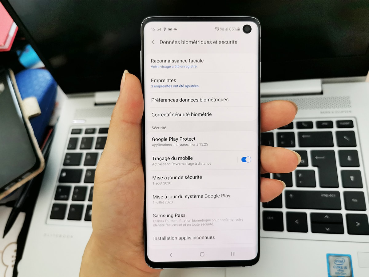 Samsung Galaxy S10 option tracage du Mobile