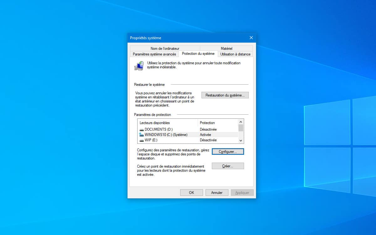 Windows 10 creer point de restauration