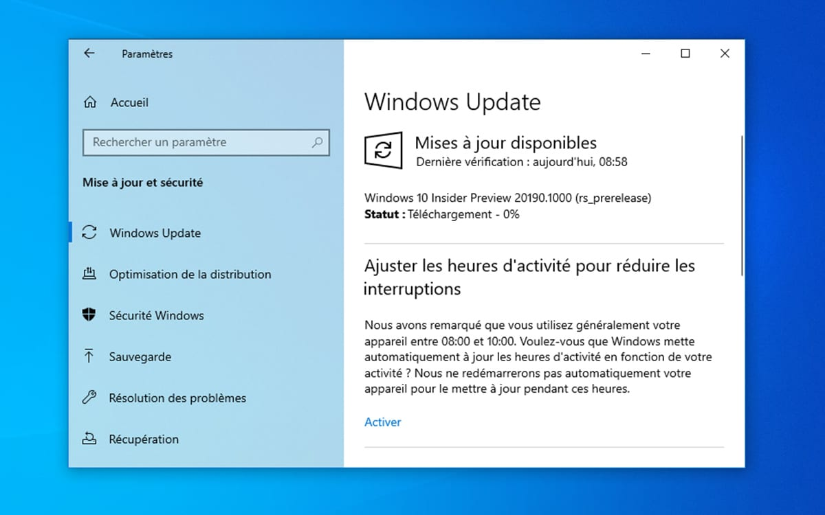Windows 10 mise a jour build 20190