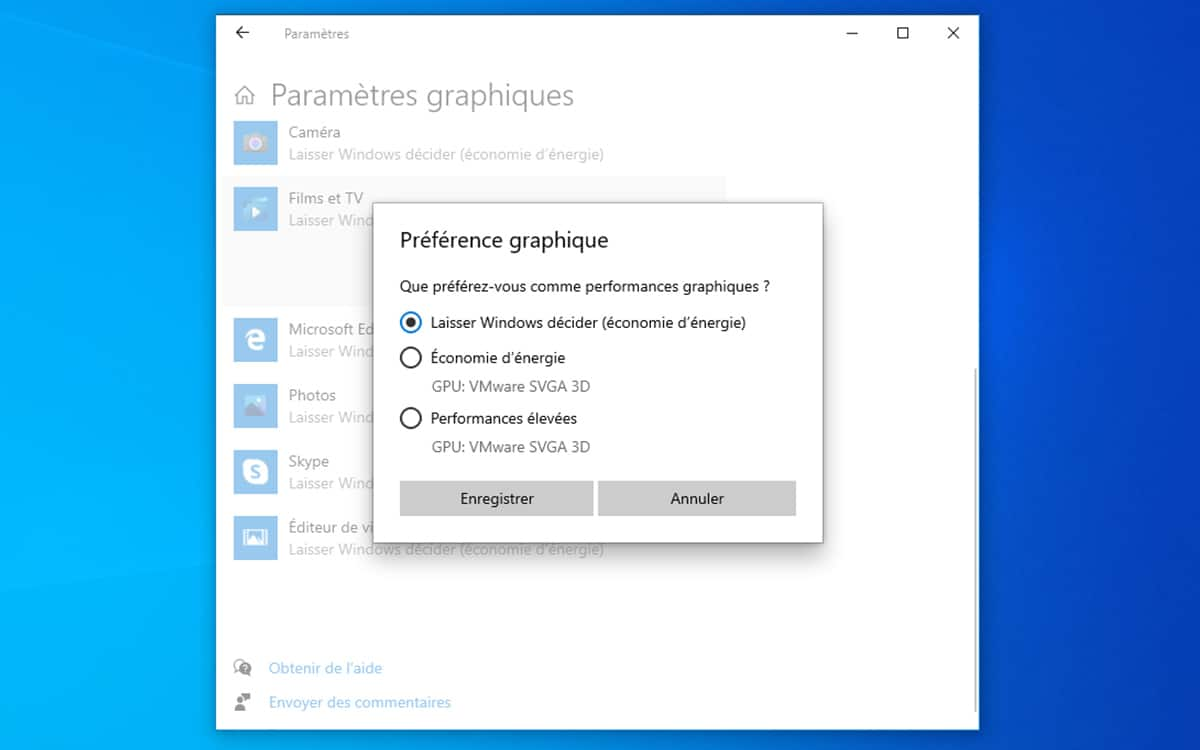 Windows 10 selection preference carte graphique