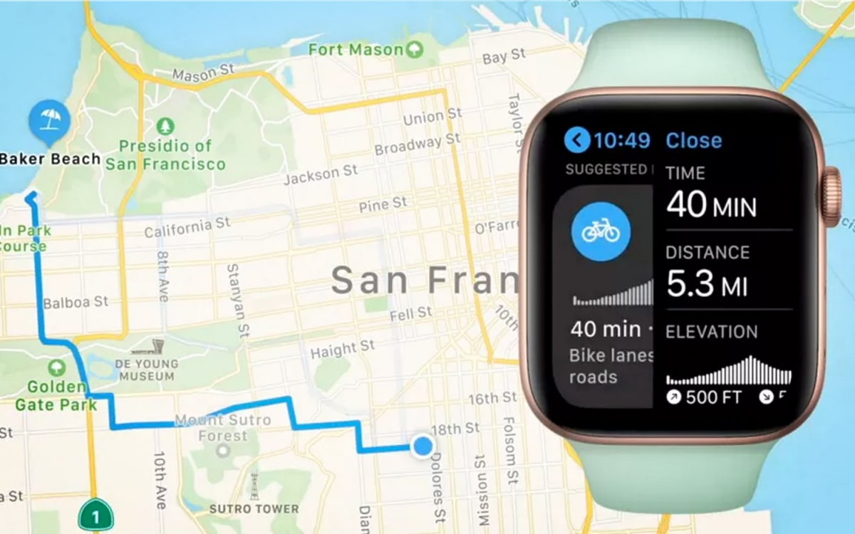 watchOS 7 cycling navigation