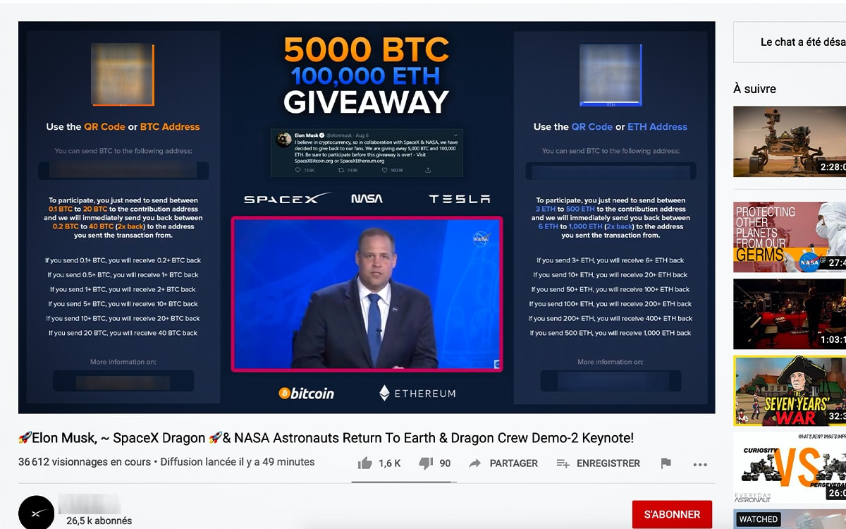 arnaque bitcoin spacex