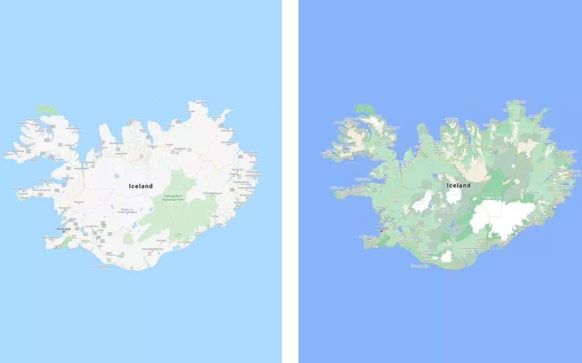 Google Maps : carte de l'Islande