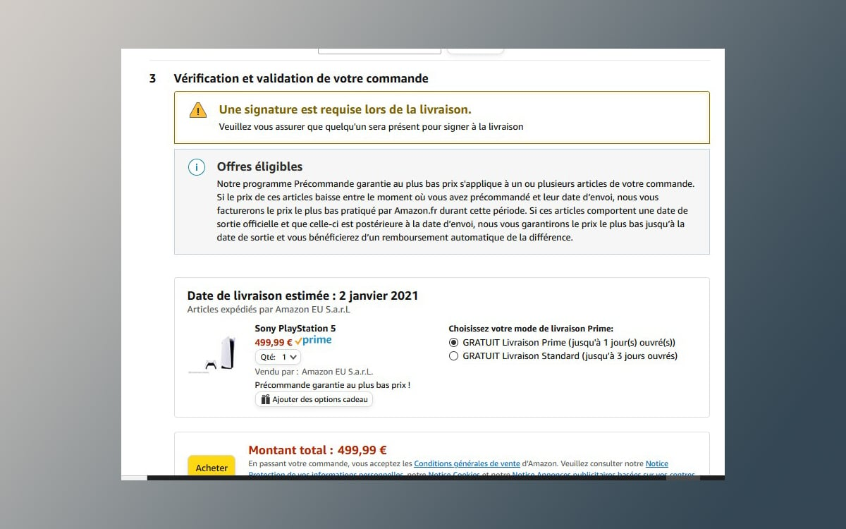 Amazon precommande ps5 livraison 2-janvier-2021