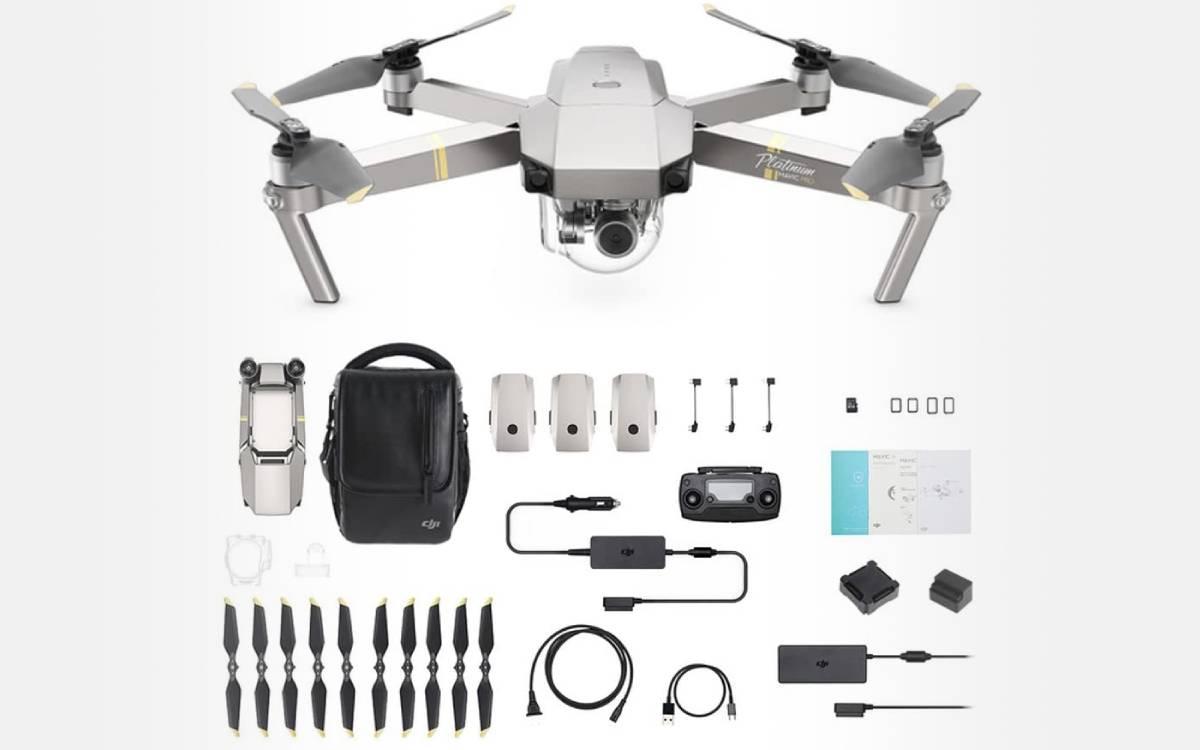 drone DJI Mavic Pro Fly More Combo Platinum avec accessoires