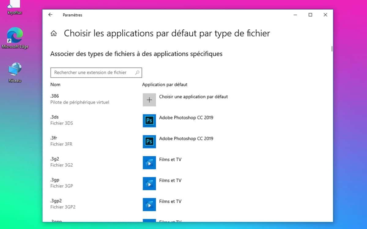 Windows 10 Applications par defaut