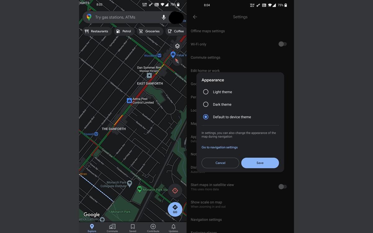 google maps mode sombre