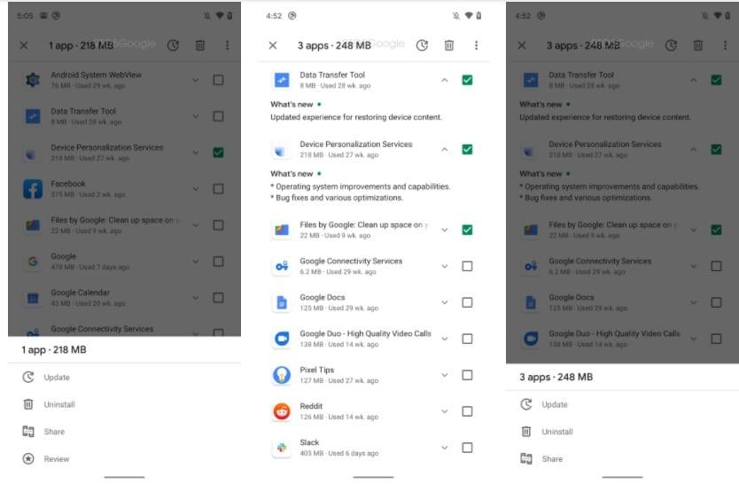 Google Play Store : sélection d'applications
