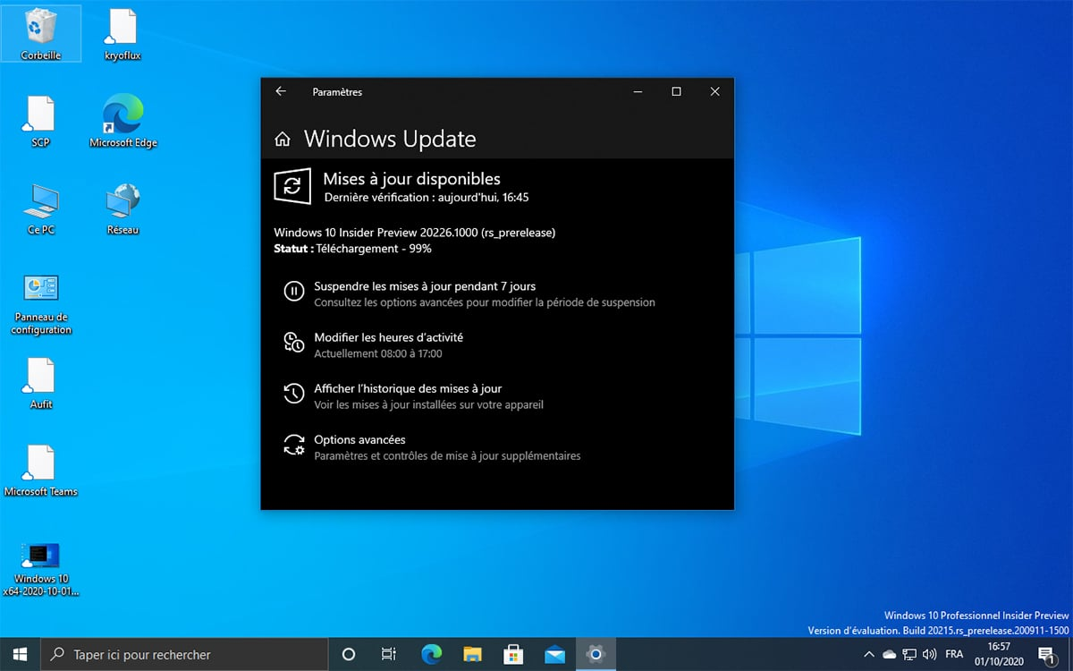 Windows 10 Mise a jour build 20226
