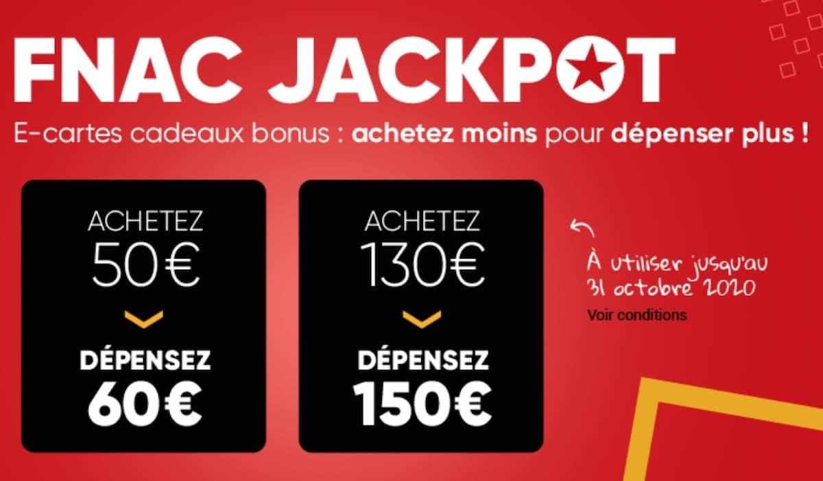 cartes cadeaux jackpot fnac darty octobre 2020