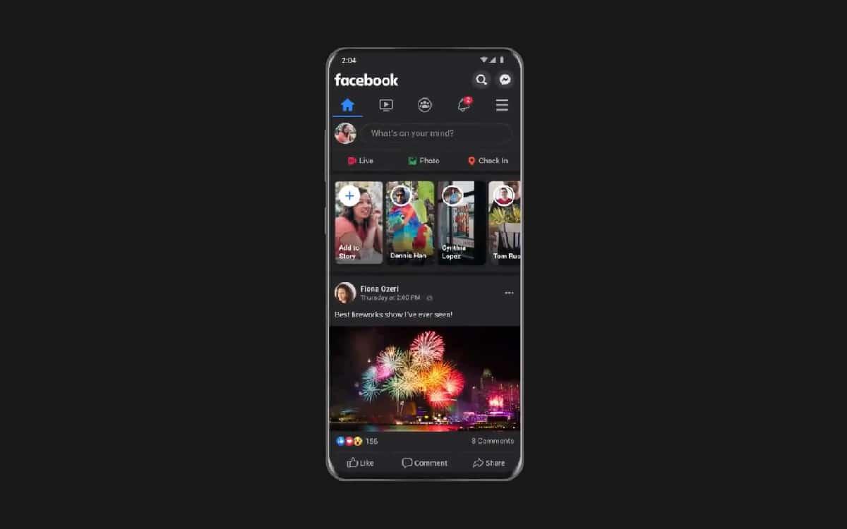 Facebook dark mode application Android