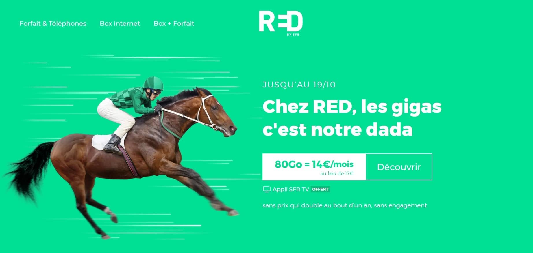 Red by SFR 80 Go à 14 € en octobre 2020