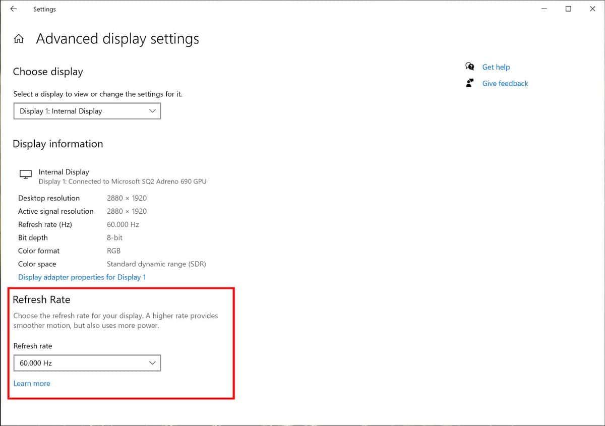 Windows 10 taux de rafraîchissement