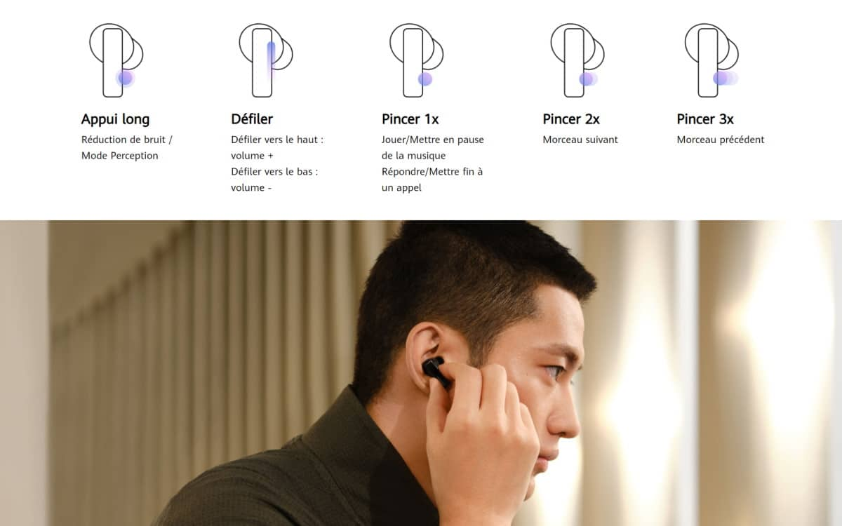 Huawei Freebuds Pro capture Touch control
