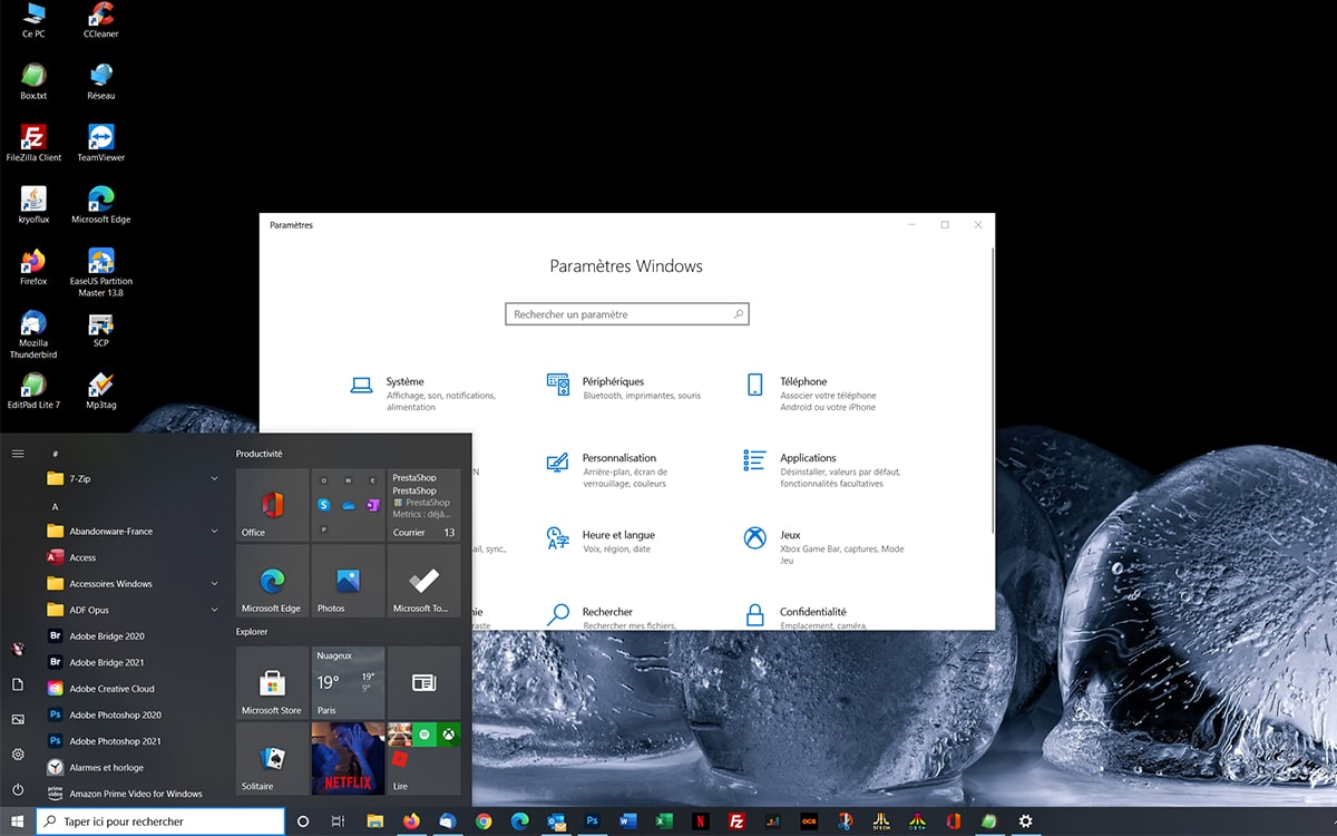 Windows 10 bureau parametres