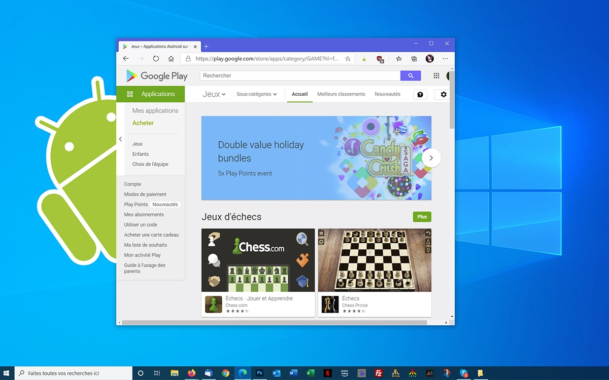 Windows 10 peut lancer applications jeux Android