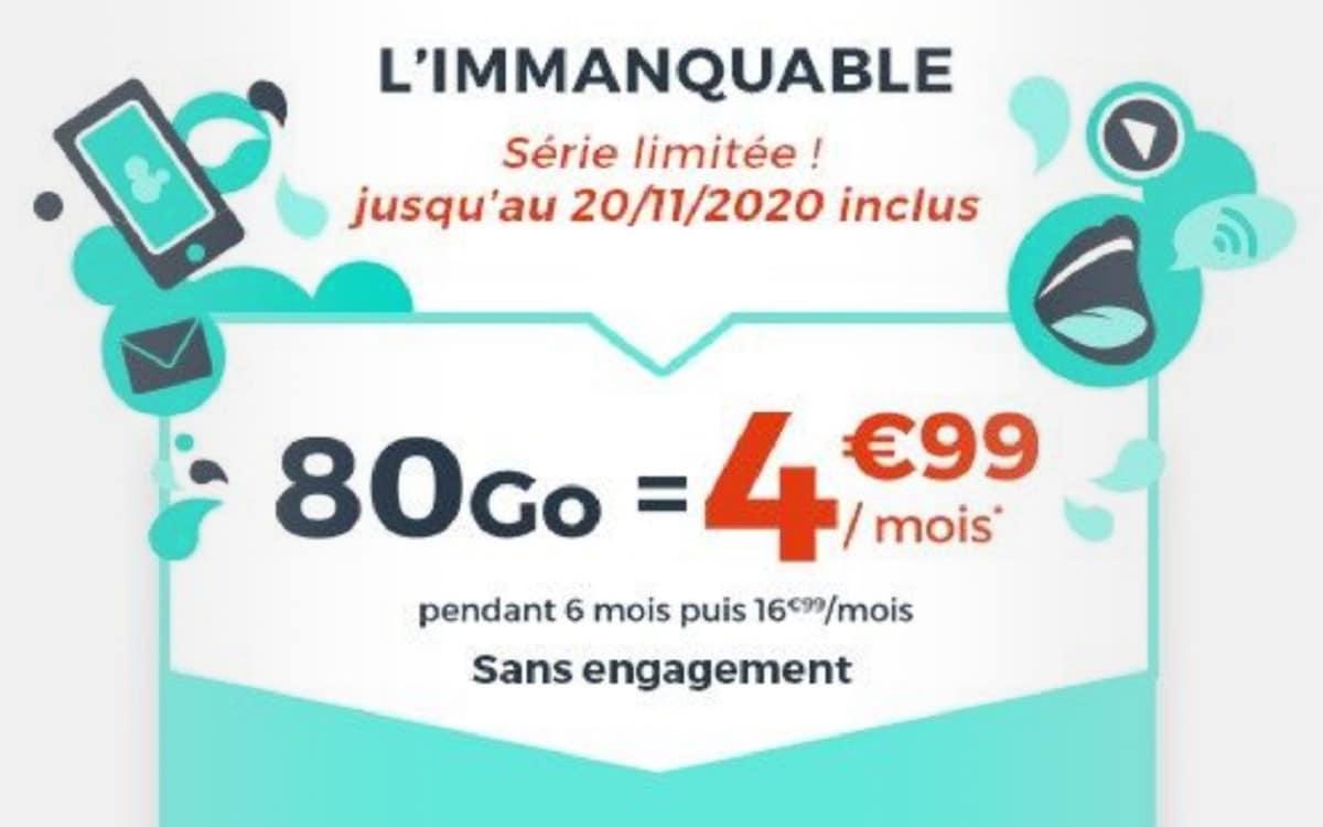 forfait 80 Go à 4,99 € cdiscount mobile