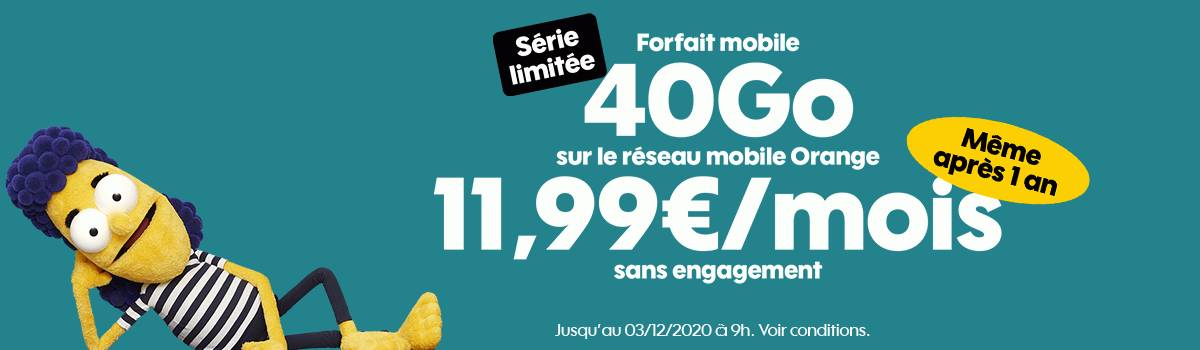 forfait mobile Sosh 40 Go à 11,99 euros par mois