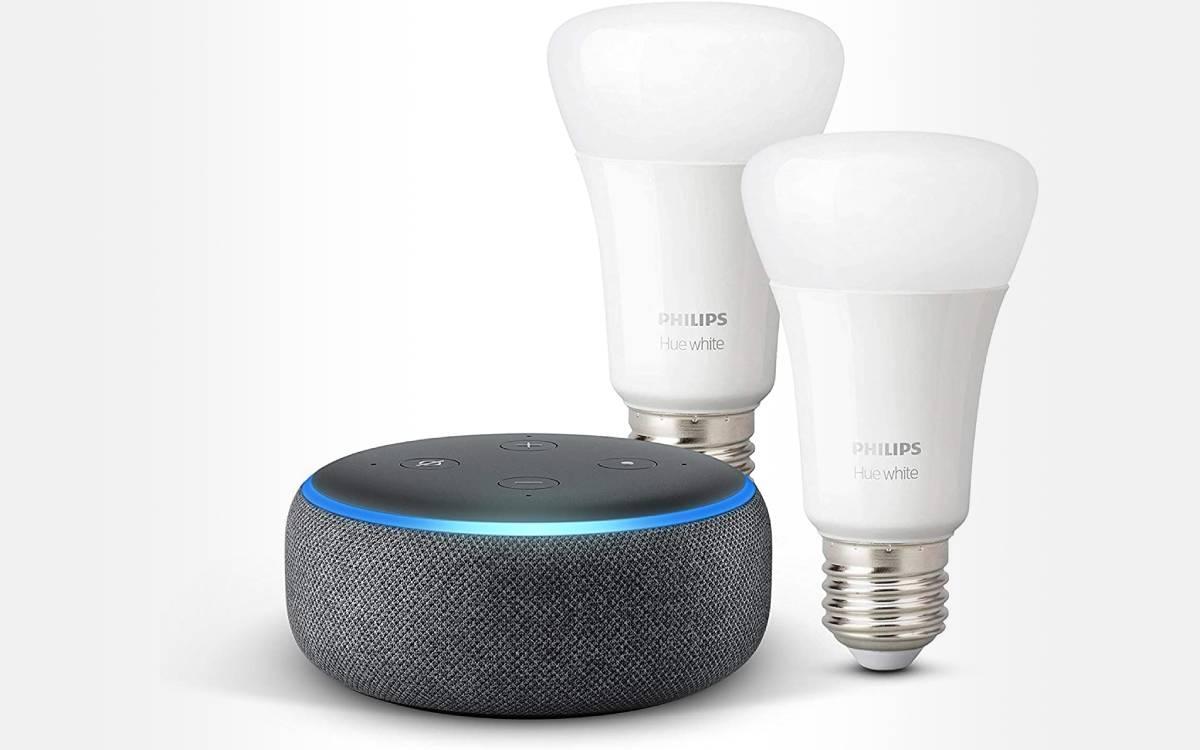 pack de 2 ampoules connectées Philips Hue White avec Echo Dot 3