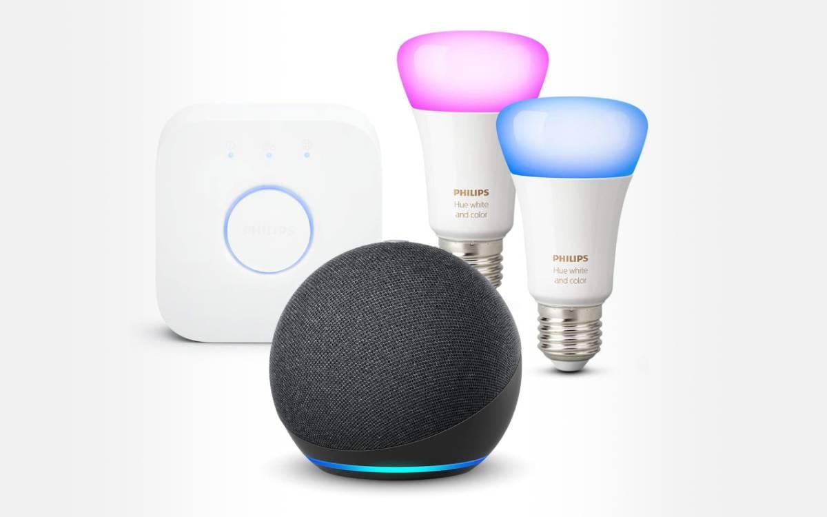 pack Echo Dot 4 kit de démarrage Philips Hue en promo
