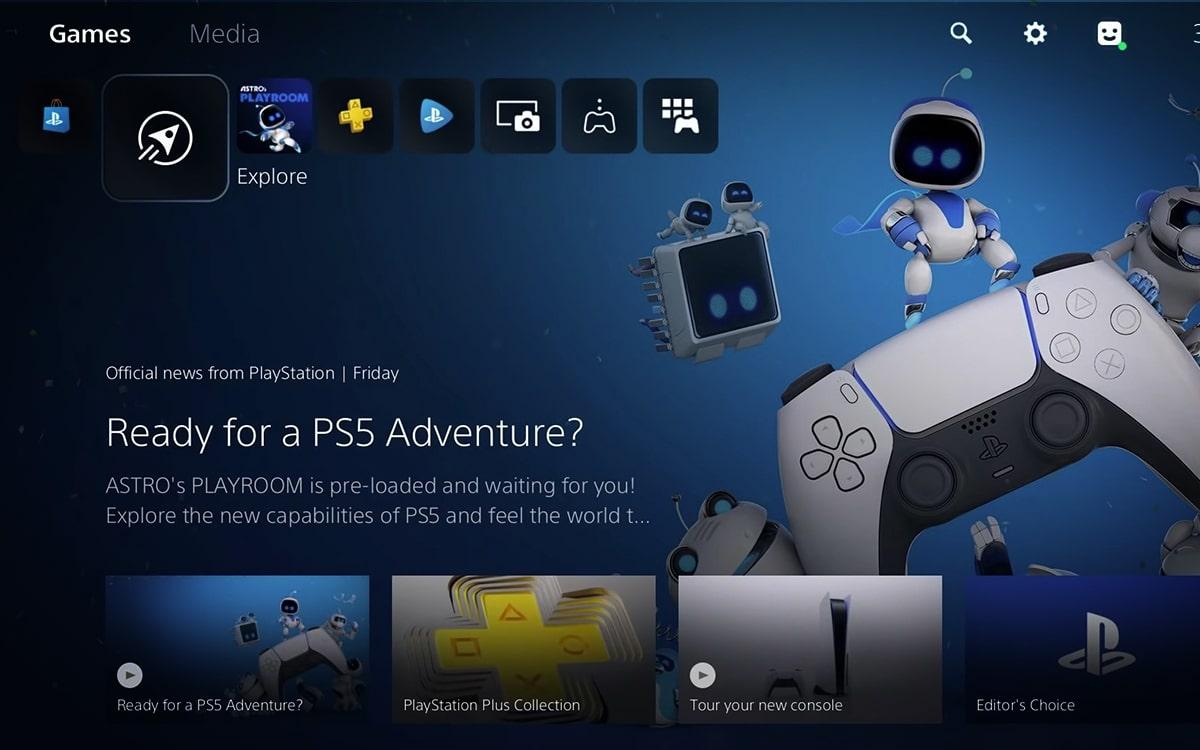 PS5 écran accueil interface UI