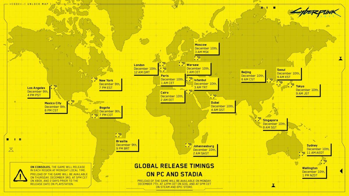carte lancement date et heure cyberpunk 2077