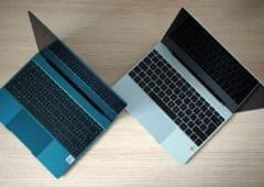 Huawei MateBook X version grise et version verte ouvert