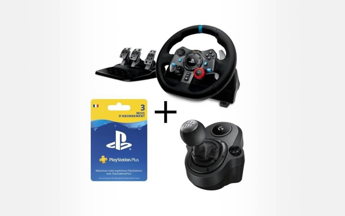 Pack Logitech volant G29 levier de vitesse abonnement PS Plus chez Cdiscount