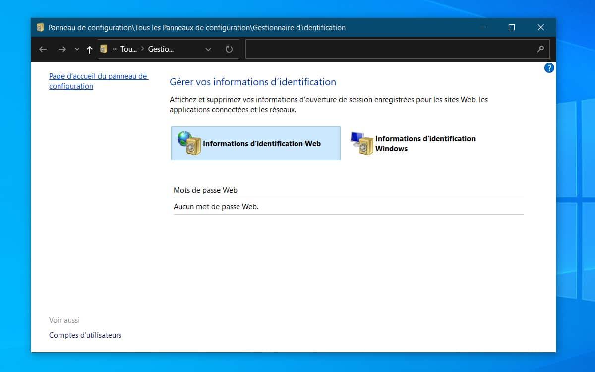 Windows 10 Gestionnaire informations identification