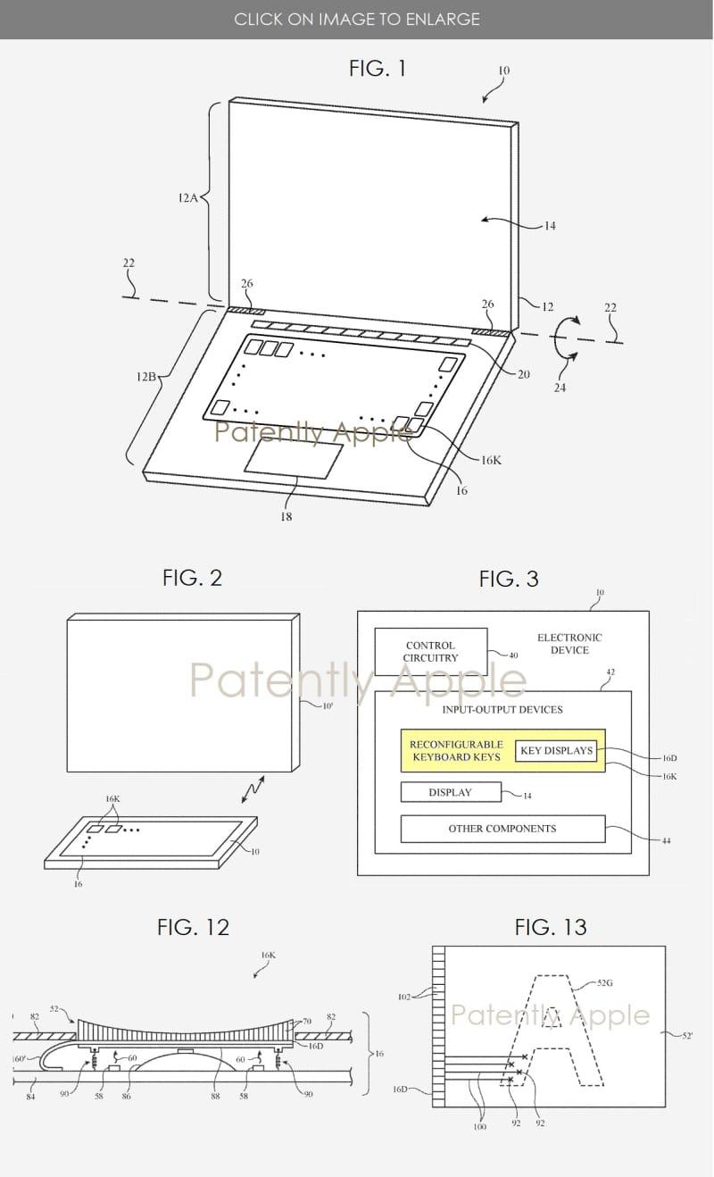 brevet Apple claviers avec ecrans