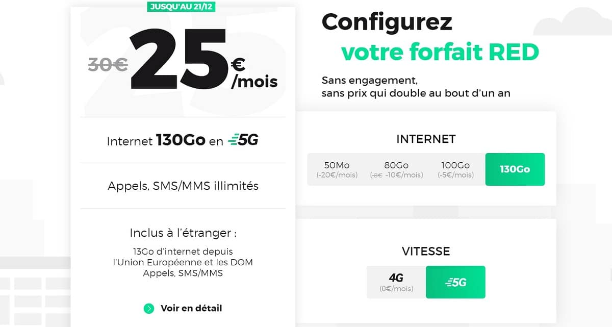 forfait 5G red by sfr 130 Go
