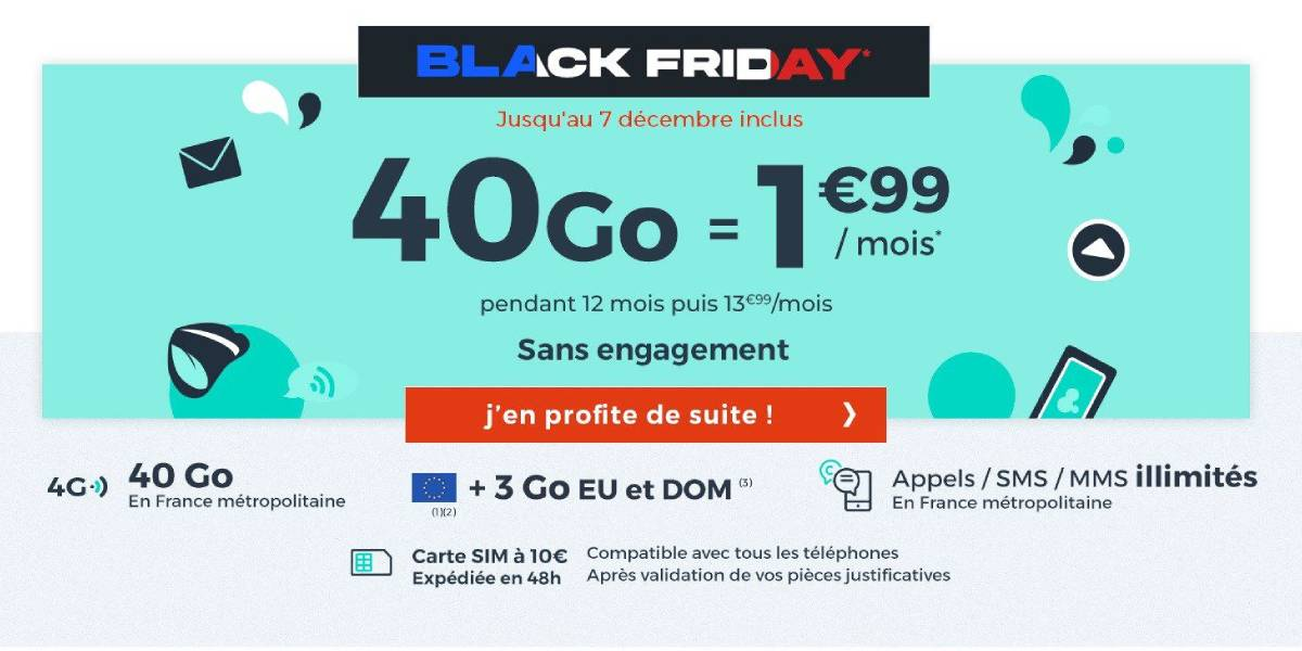 forfait Cdiscount Mobile 40 Go pas cher black friday 2020