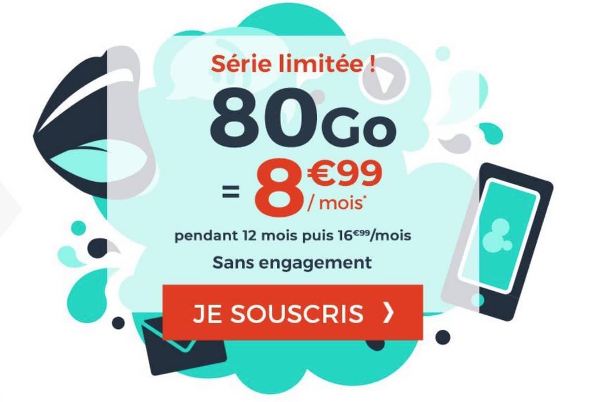 forfait mobile 80 Go Cdiscount Mobile pas cher