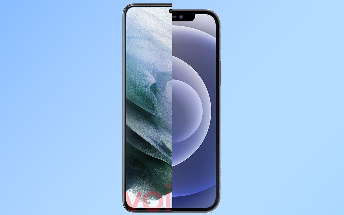 galaxy s21 photo compare bordures iphone 12
